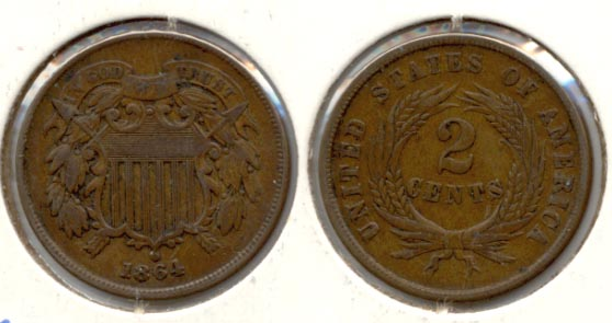 1864 Large Motto Two Cent Piece VF-20