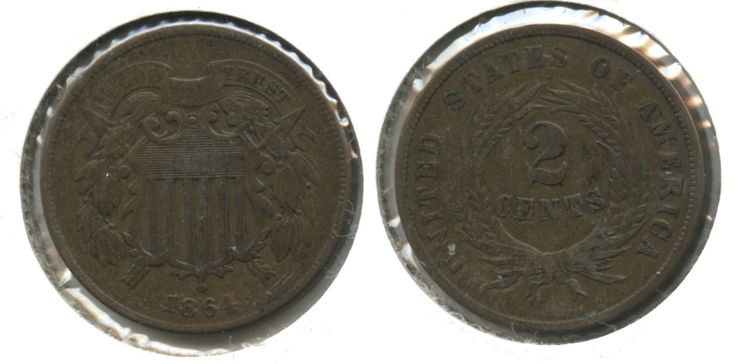 1864 Large Motto Two Cent Piece VF-20 #e