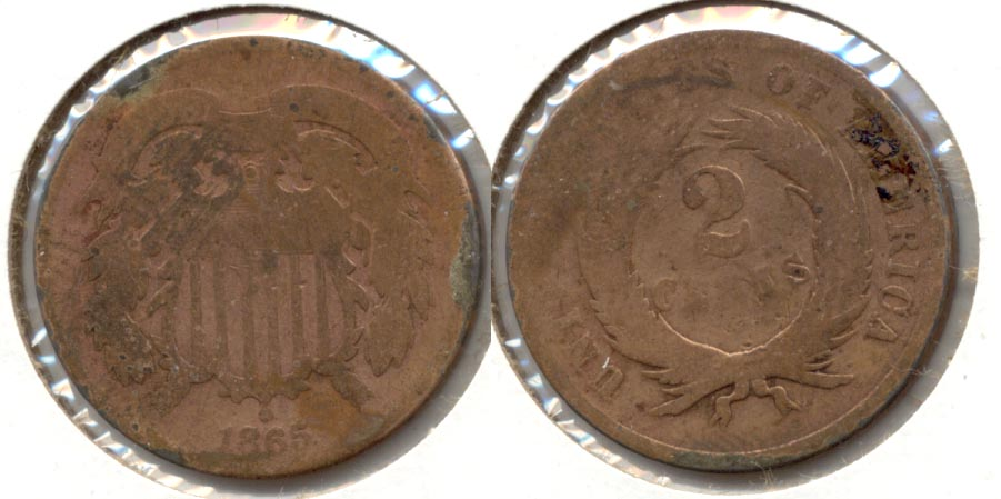 1865 Two Cent Piece AG-3 d Cleaned