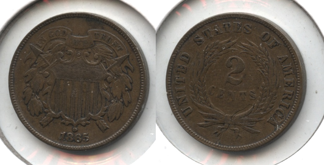 1865 Two Cent Piece EF-40 #f