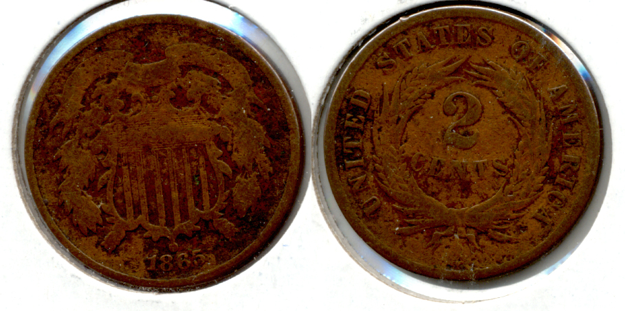 1865 Two Cent Piece Good-4 f
