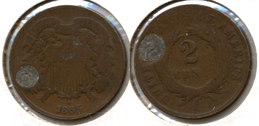 1865 Two Cent Piece Good-4 k Plugged