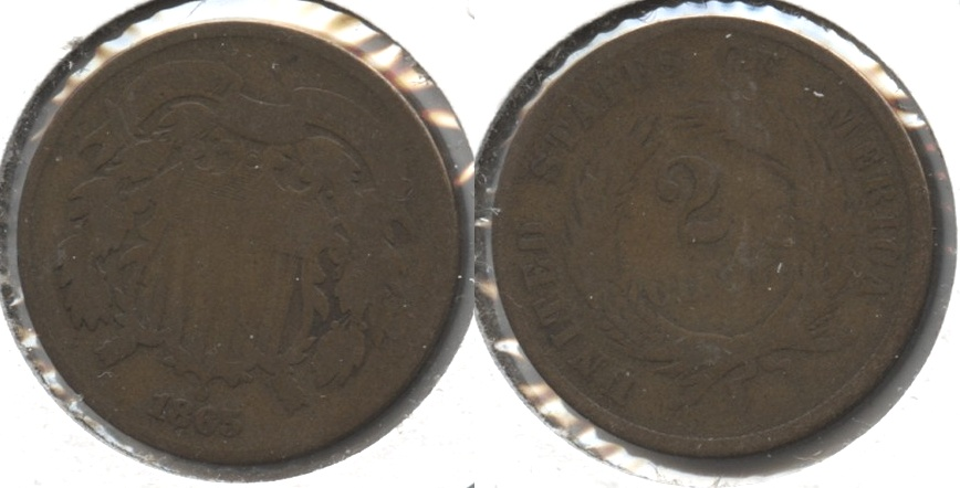 1865 Two Cent Piece Good-4 #q
