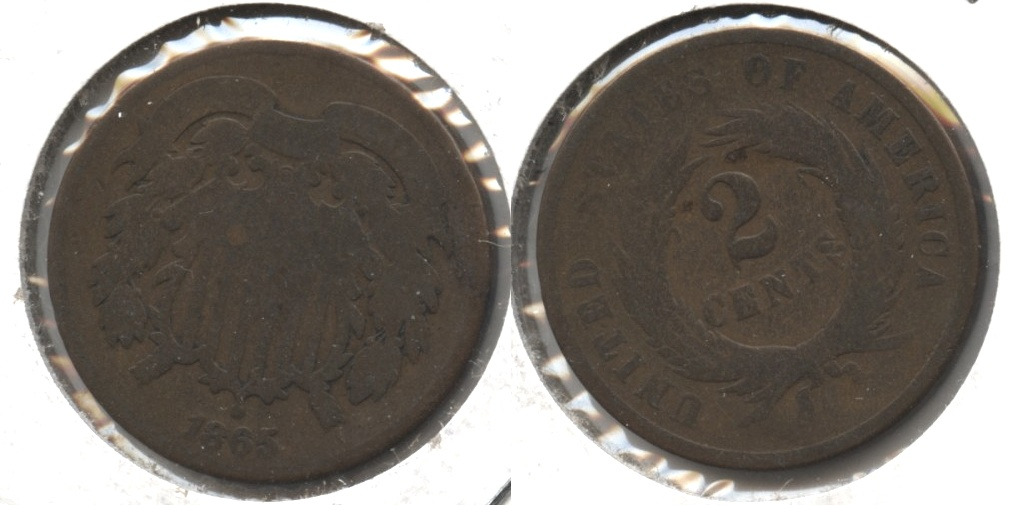 1865 Two Cent Piece Good-4 #y