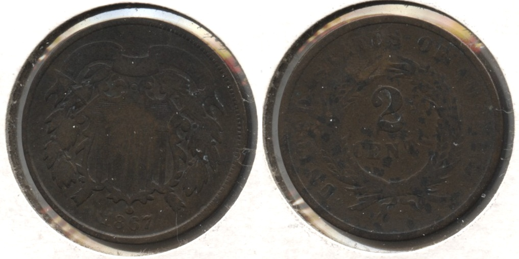 1867 Two Cent Piece Good-4 #h
