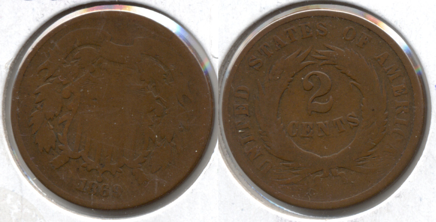 1869 Two Cent Piece AG-3 b
