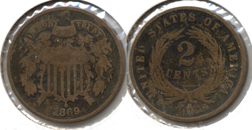 1869 Two Cent Piece Good-4 d