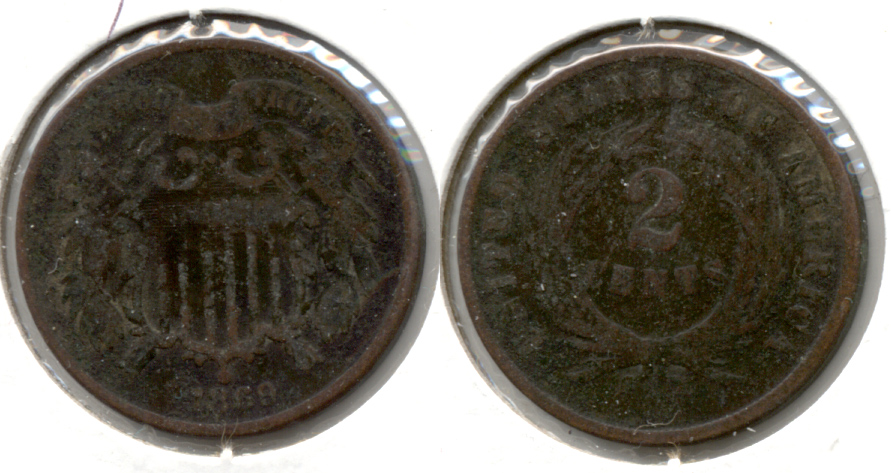 1869 Two Cent Piece Good-4 e Bit Dark