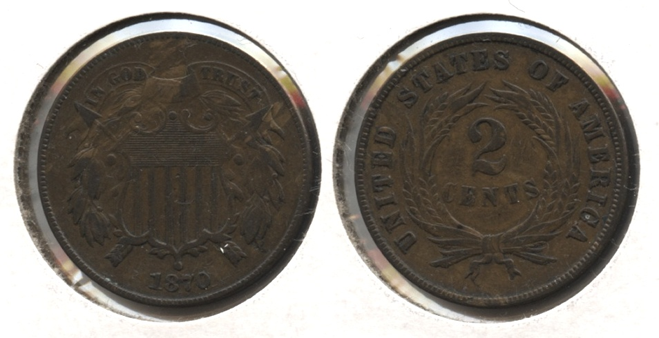 1870 Two Cent Piece EF-45