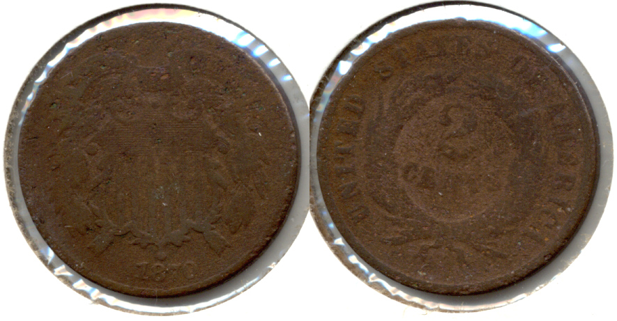 1870 Two Cent Piece Good-4 a Porous