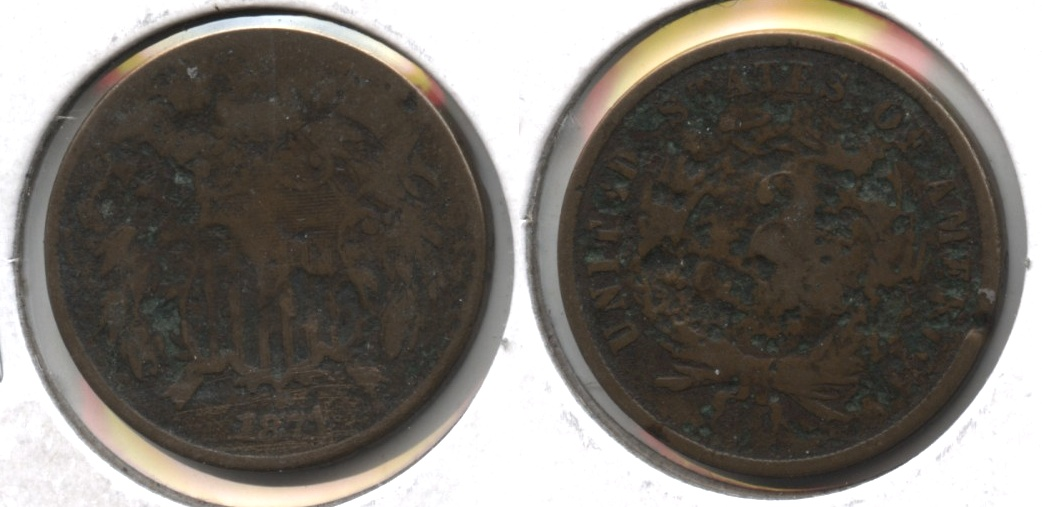 1871 Two Cent Piece Good-4 #a Heavy Damage