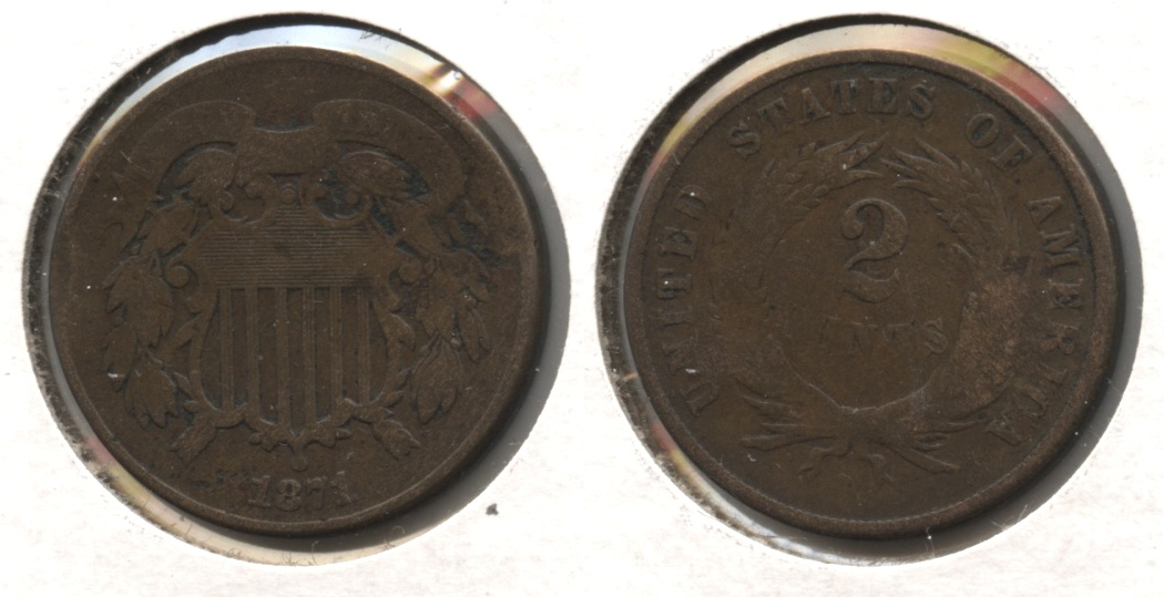 1871 Two Cent Piece VG-8 #b Obverse Bumps